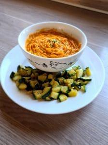 Recette Paléo : purée de patate douce et dés de courgettes