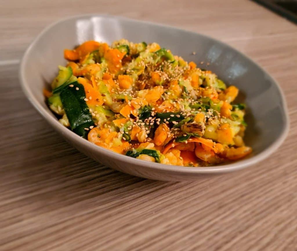 wok aux crevettes et spaghettis de légumes