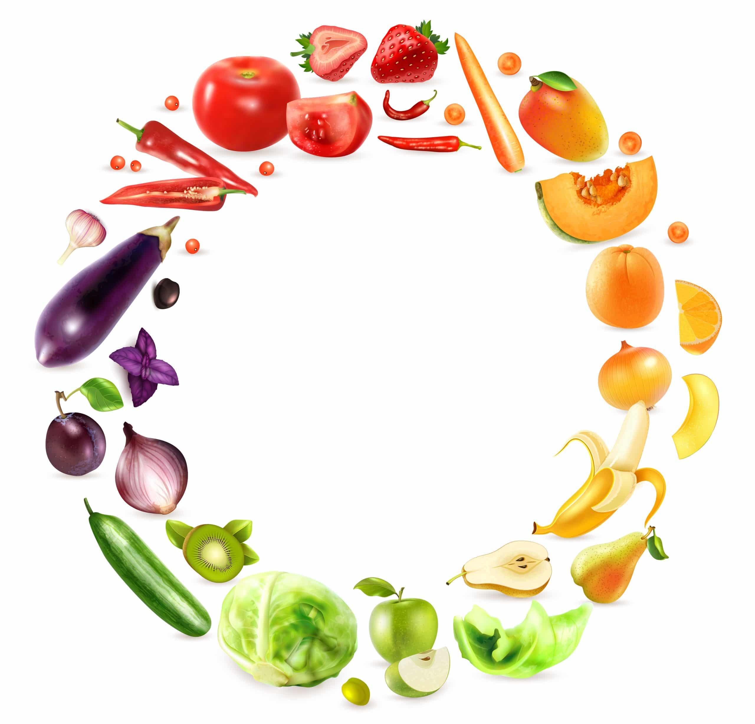 arc en ciel de fruits et légumes