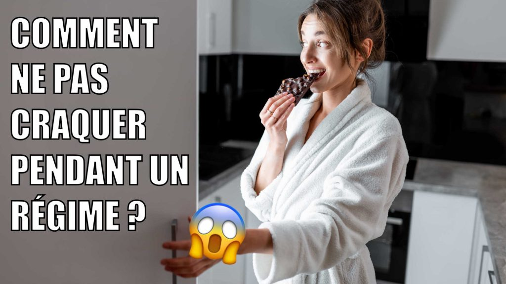 Woman eating chocolate in front of her open fridge during diet. Writing says Comment ne pas craquer pendant un régime