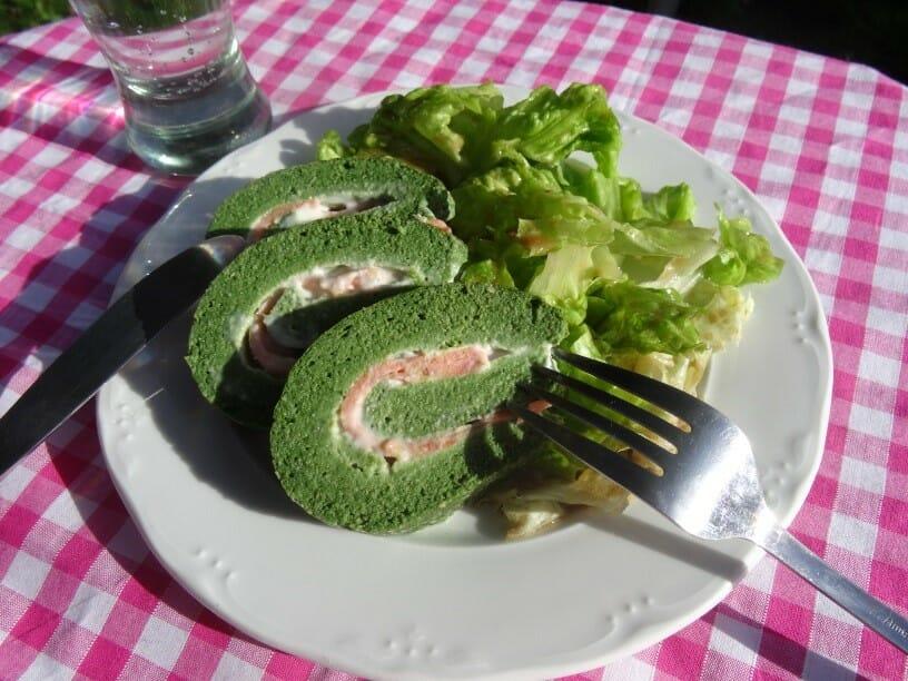 Omelette roulee epinards saumon chevre Paleo