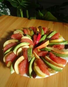 Salade avocat pomme pamplemousse Paléo vinaigrette à la framboise