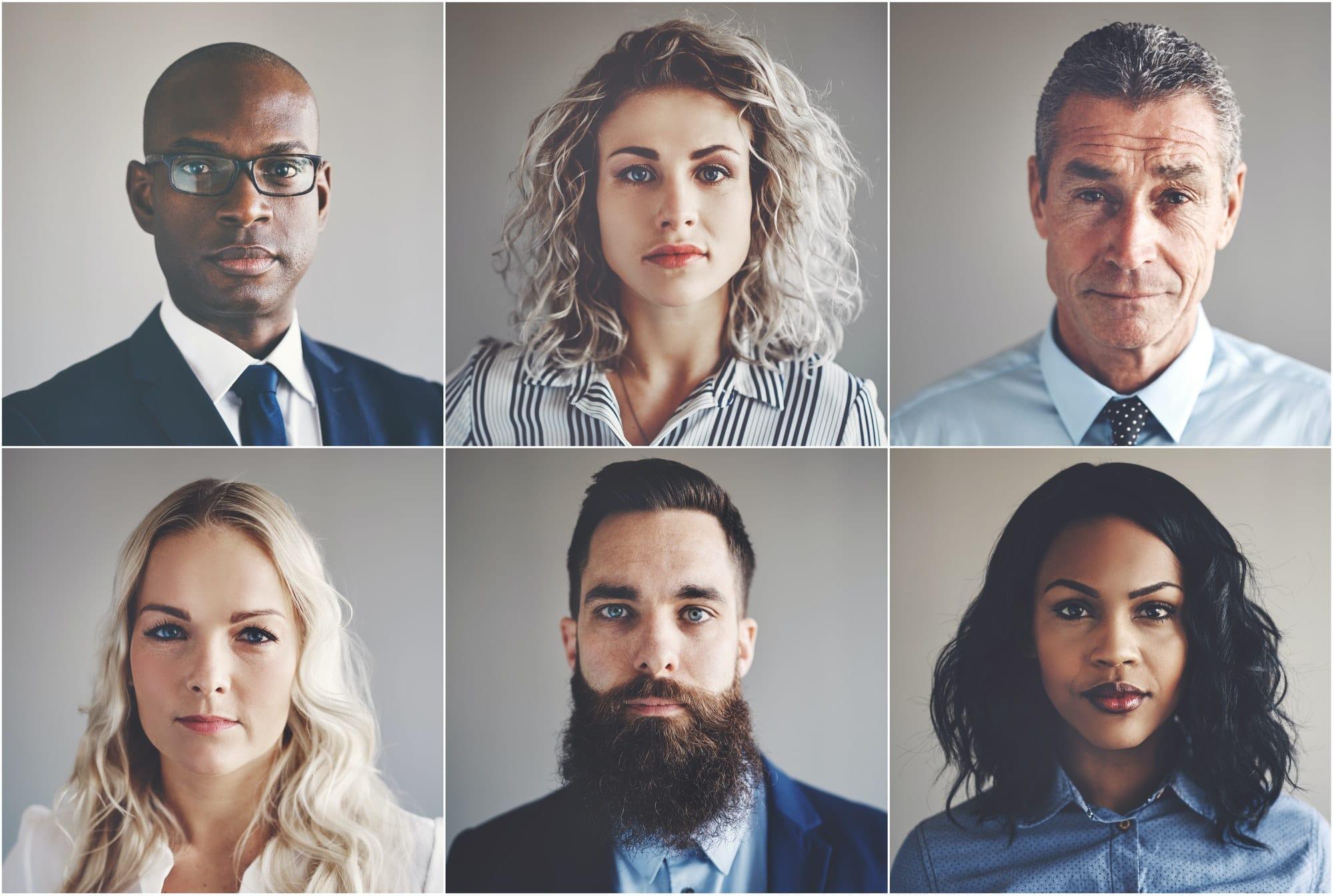 six portraits d'hommes et de femmes adultes