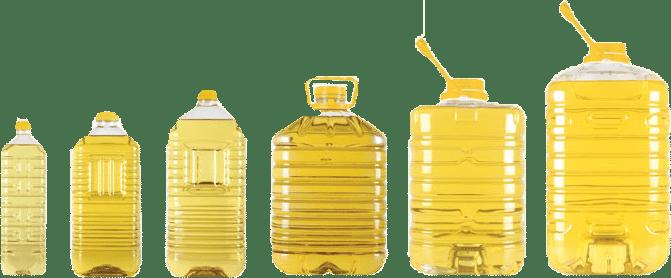 huile raffinée en bidon de plastique