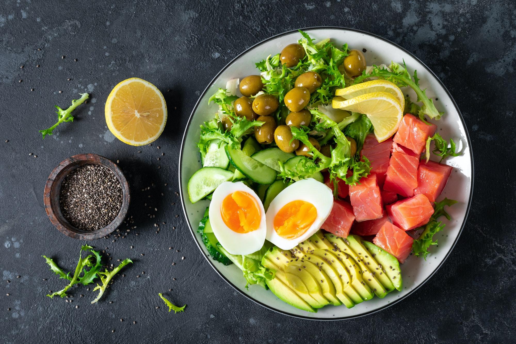 repas cétogène et paléo avec oeufs avocat poisson concombres et olives