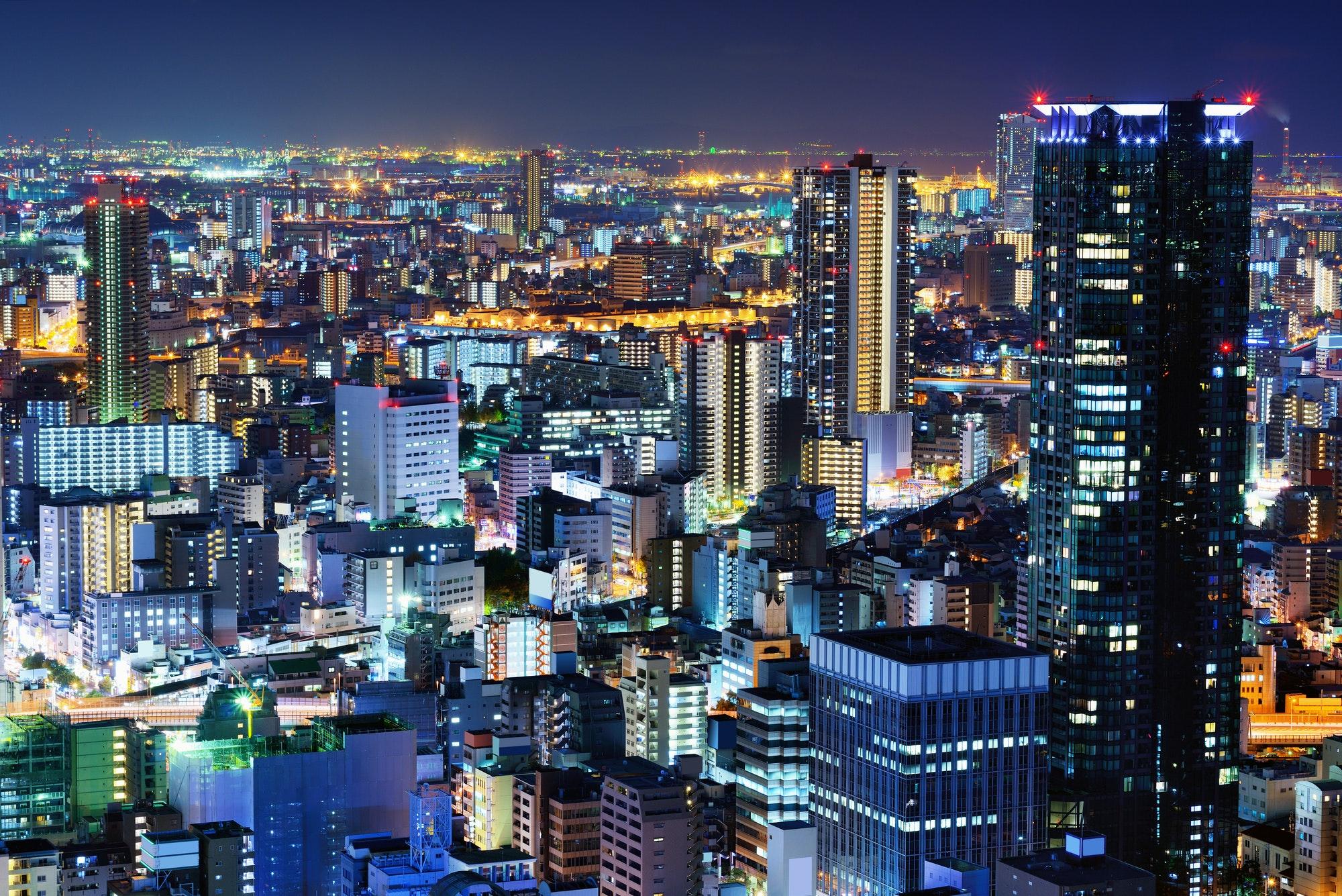 paysage de grande ville la nuit